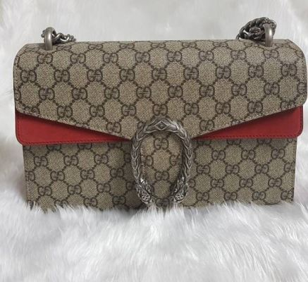 Gucci Small Dionysus GG Shoulder Bag with Red Leather