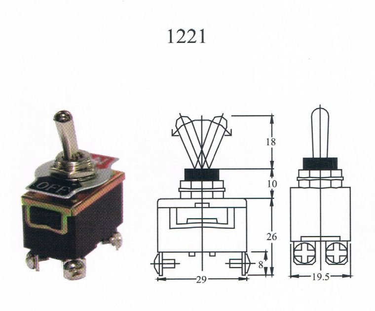 TAIWAN MADE-TOGGLE SWITCH(1221) ON/OFF 4T Toggle switch Switcher