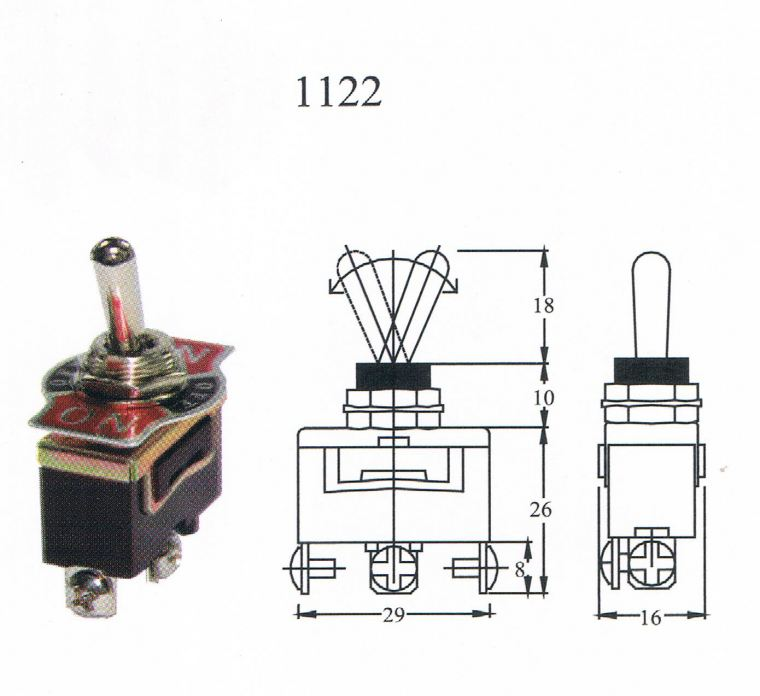 TAIWAN MADE-TOGGLE SWITCH(1122) ON/OFF/ON 3T Toggle switch Switcher