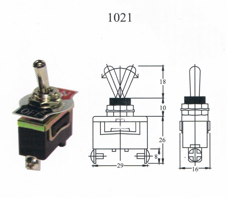 TAIWAN MADE-TOGGLE SWITCH(1021) ON/OFF 2T Toggle switch Switcher