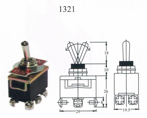 TAIWAN MADE-TOGGLE SWITCH(1321) ON/ON 6T