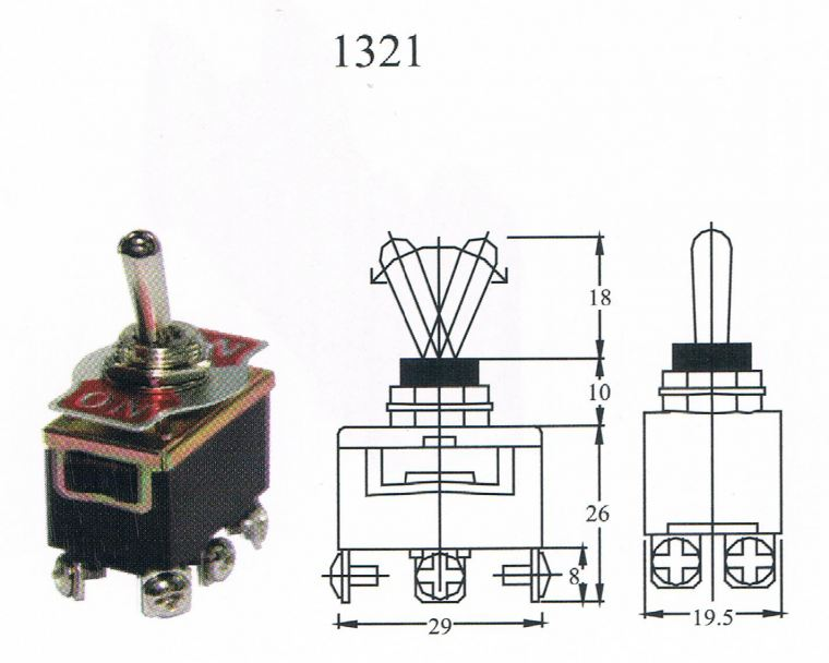 TAIWAN MADE-TOGGLE SWITCH(1321) ON/ON 6T Toggle switch Switcher