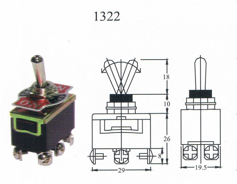 TAIWAN MADE-TOGGLE SWITCH(1322) ON/OFF/ON 6T Toggle switch Switcher