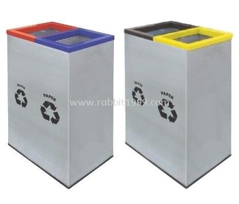 STAINLESS STEEL & POWDER COATING 2 IN 1 RECTANGULAR RECYCLE BIN - RECYCLE-138/SS