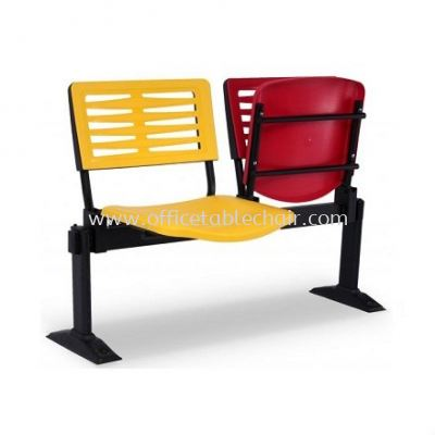 AEXIS-3 POLYPROPYLENE 2 SEATER LINK CHAIR W/O ARMREST & T-SHAPE METAL BASE C/W FLOOR FIXED ACL 68-2V