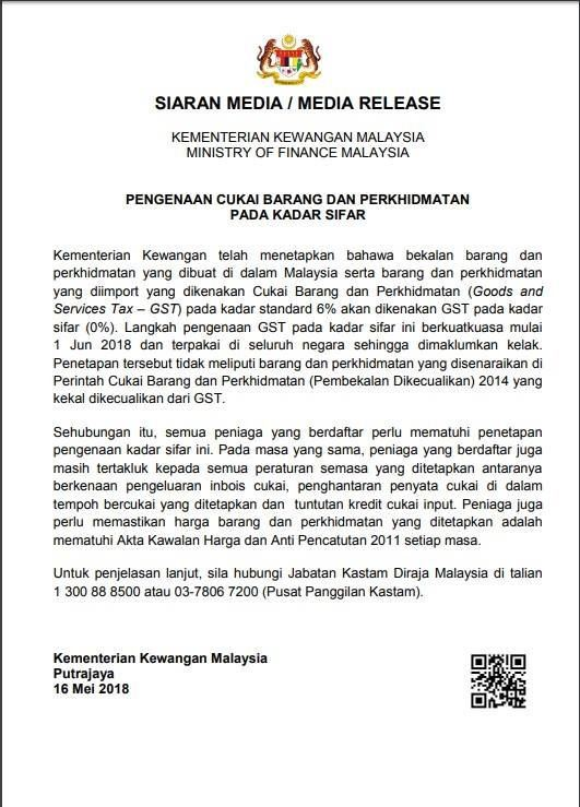 Imposition of Goods and Services Tax at Zero Rated Effective From 1 June 2018