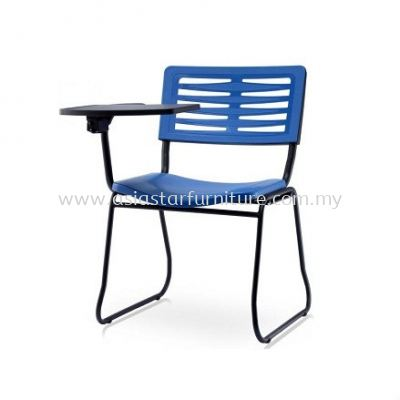 AEXIS-3 POLYPROPYLENE CHAIR C/W WRITING TABLET & SQUARE METAL BASE CHAIR ACL 68 SA04