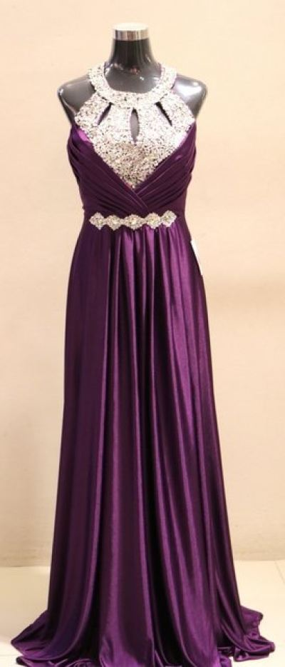 Plus Size Dinner Dress (Evening Dark Purple Sequence Gown)