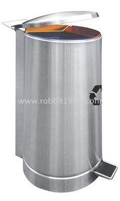 STAINLESS STEEL 3 COMPARTMENT ROUND RECYCLE PEDAL BIN - RECYCLE-137/SS RECYCLE BIN RUBBISH BIN