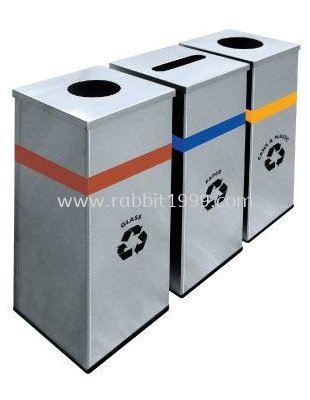 STAINLESS STEEL SQUARE RECYCLE BIN - RECYCLE-127/SS