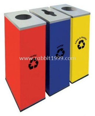 RECTANGULAR RECYCLE BINS c/w mild steel body & stainless steel cover