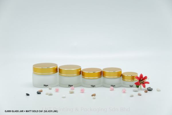 GJ089 GLASS JAR + MATT GOLD CAP (SIL.LINE)