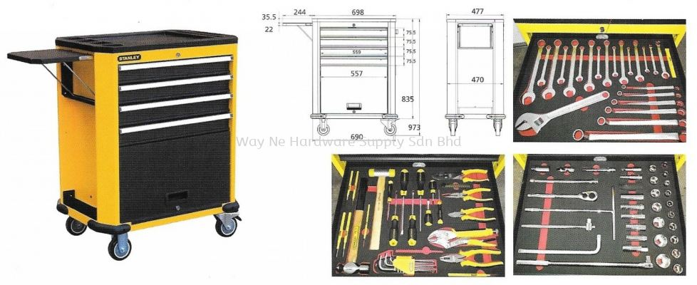 STANLEY Roller Cabinet, Model:99-069 + Accessories (135 pcs) + Foam Cut SKU# STMT74157-8