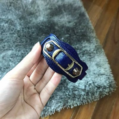 (SOLD) Balenciaga Metallic Bracelet in Dark Blue with GHW