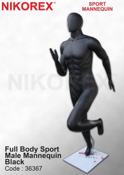 36367-FULL BODY SPORT MALE MANNEQUIN BLACK