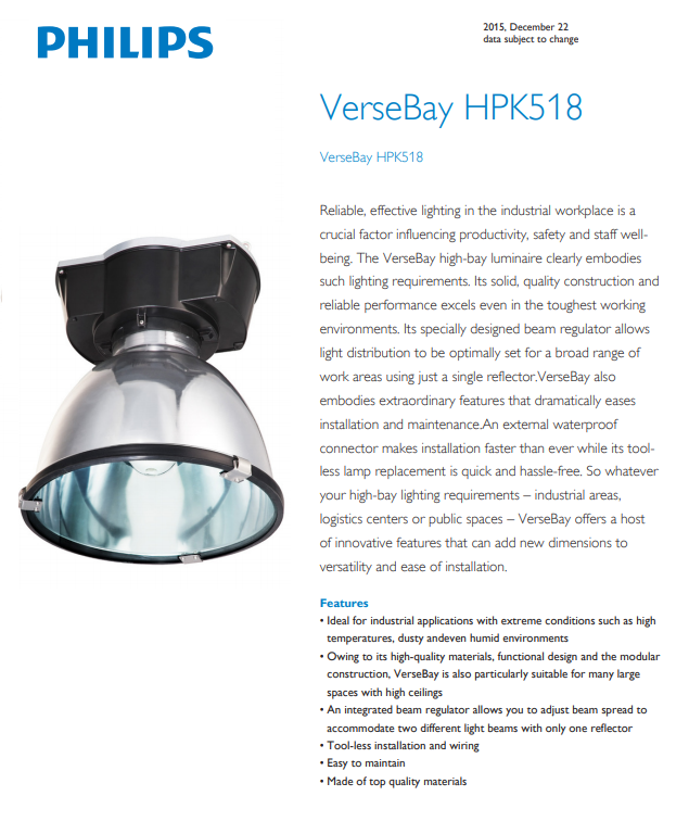PHILIPS VERSBAY HPK518 PHILIPS FLOODLIGHT COMMECIAL LIGHTING PHILIPS