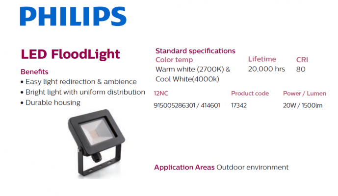 PHILIPS 17342 20W/1500lm LED FLOODLIGHT 2700k Warm White
