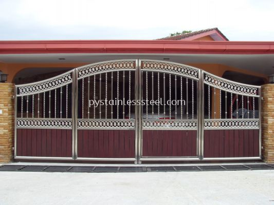 Stainless Steel Folding Gate with Aluminium Wood