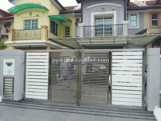 Stainless Steel Swing Gate with Aluminium Wood