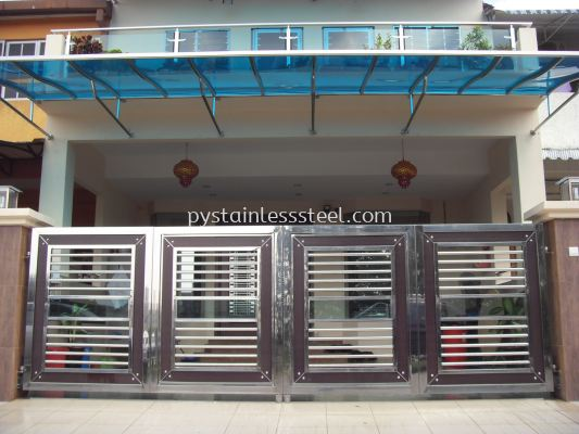 Stainless Steel Folding Gate with Aluminium Wood & Glass