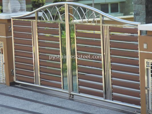 Stainless Steel Swing Gate with Aluminium Wood & Glass