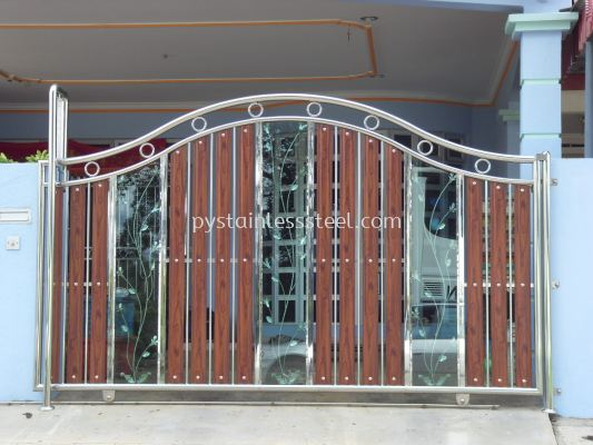 Stainless Steel Sliding Gate with Aluminium Wood & Glass