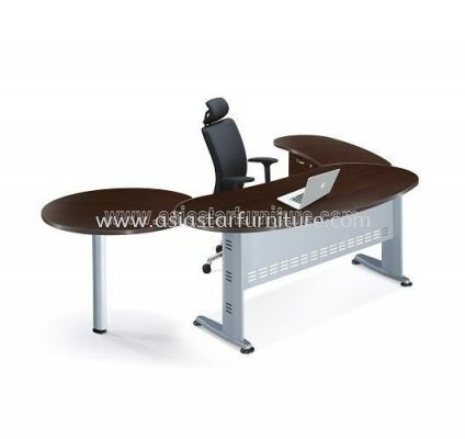 EXECUTIVE TABLE OVAL SHAPE METAL J-LEG C/W STEEL MODESTY PANEL WITH SIDE CABINET & SIDE DISCUSSION TABLE QMB 33 (W/O TEL CAP) FRONT