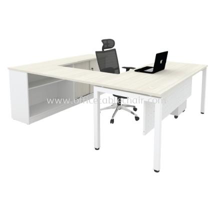 L-SHAPE TABLE METAL N-LEG C/W STEEL MODESTY PANEL WITH SIDE CABINET & MOBILE PEDESTAL SET-MU88LW