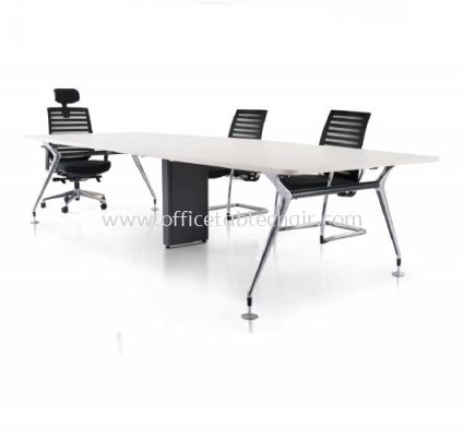ZABIES RECTANGULAR CONFERENCE OFFICE TABLE WITH CHROME METAL BASE (W/O FLIPPER BOX 4 GANG & METAL RISER BOX)