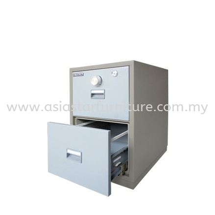 FIRE RESISTANT CABINET SAFETY BOX 2 DRAWER (CENTRAL LOCKING) BLUE GREY COLOR-safety box shah alam   safety box setia alam   safety box kota kemuning