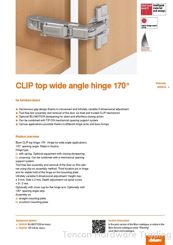 Clip top 170° Hinge BLUM