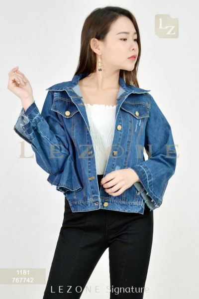 1181 BACK DETAIL DENIM JACKET��Purchase 2pcs FREE 1 x camisole bralette��