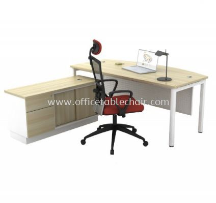 MUPHI EXECUTIVE OFFICE TABLE OCTAGON LEG C/W STEEL MODEST PANEL & SIDE CABINET ASMB 180A + AB-YSP 1226 (E)