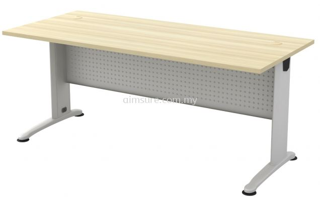 Rectangular table with metal modesty