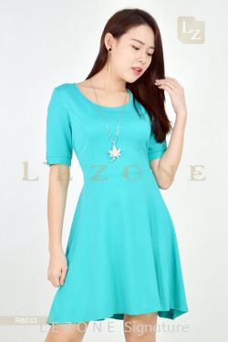 R8033 PRINCESS LINED BUTTON SLEEVE DRESS【50% OFF】