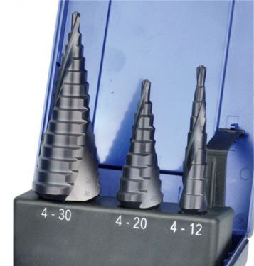 3Pc HSS Spiral Flute Step- TiALN Coated-- TiALN Coated-4-30mm