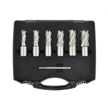"7Pc 1"" Depth Inch HSS Core Drill Kit In Plastic Box"