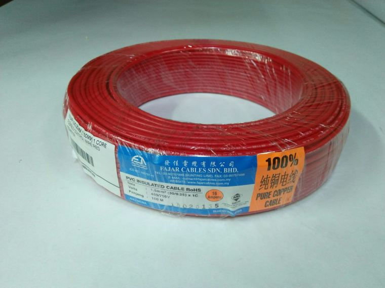 Fajar 30/0.25mm(1.5mm)x 1 Core Flexible Control Wire(Red)100meter Fajar Cable Electric Copper Cable