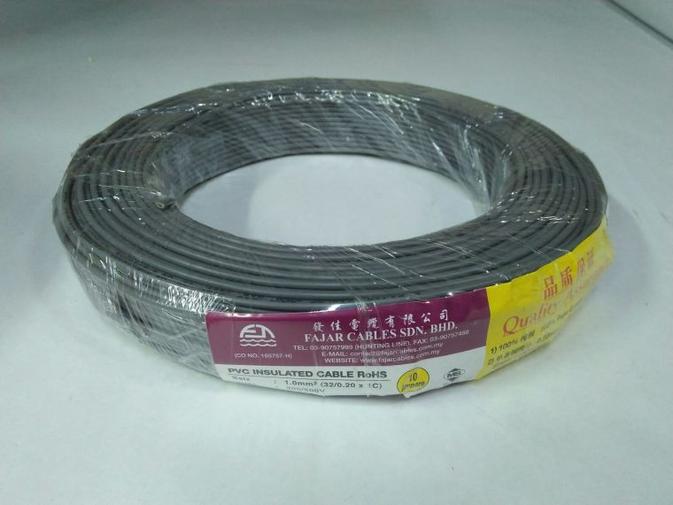 Fajar 32/0.20mm(1.0mm)x 1 Core Flexible Control Wire(Grey)100meter Fajar Cable Electric Copper Cable