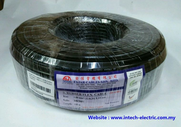 Fajar 32/0.20mm(1.0mm)x 4 Core Trs Rubber Flexible Wire(Black)100meter Fajar Cable Electric Copper Cable