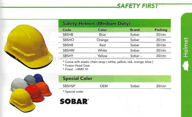 SOBAR SAFETY HELMET (MEDIUM DUTY)