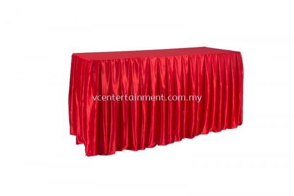 Red Normal Oblong Table Skirting 2x5