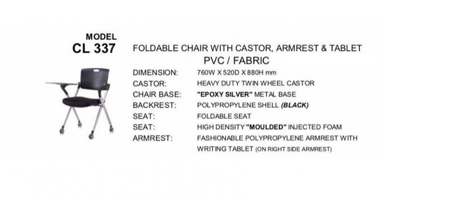 CL337 Foldable Chair With Castor