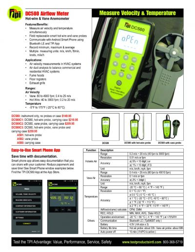 TPI DC580 Airflow Meter Hot-wire & Vane Anemometer with APP