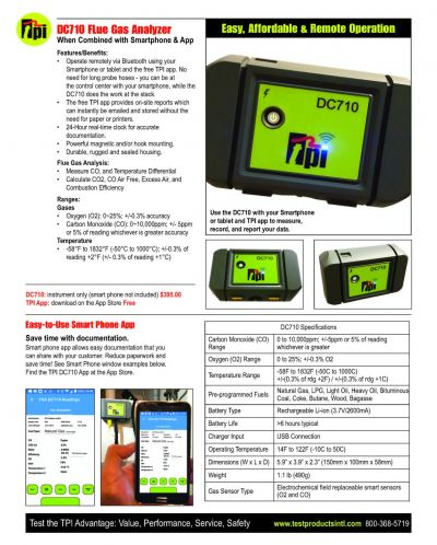 TPI DC710 FLue Gas Analyzer When Combined with Smartphone & App