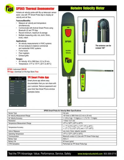 TPI SP565 Smart Probe (Hot Wire) Air Velocity Meter