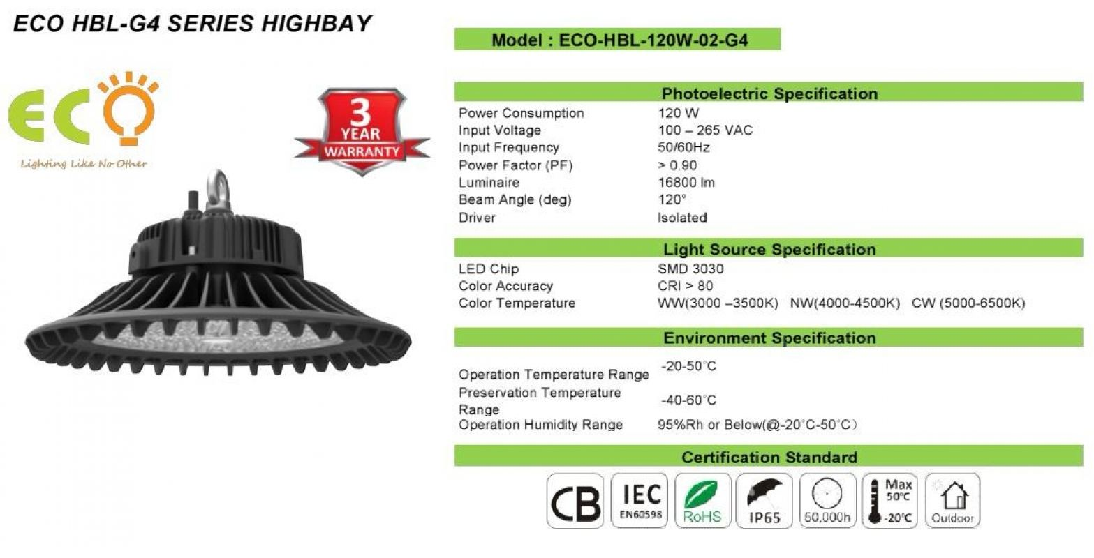 ECO-HBL-120W-G4 SERIES LED G4-SERIES LED HBL-G4 SERIES Kluang, Johor, Malaysia Supplier Supply Manufacturer | ECO LED Lighting Solution
