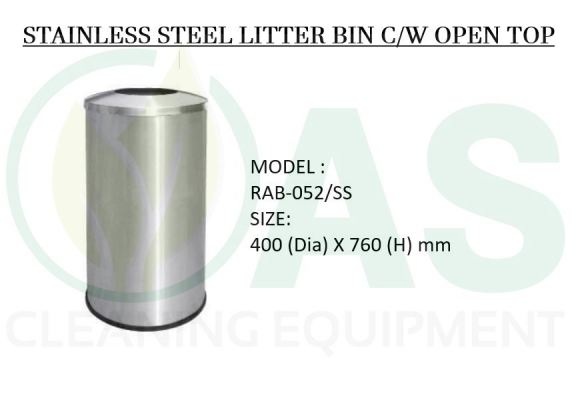 STAINLESS STEEL LITTER BIN C/W OPEN TOP