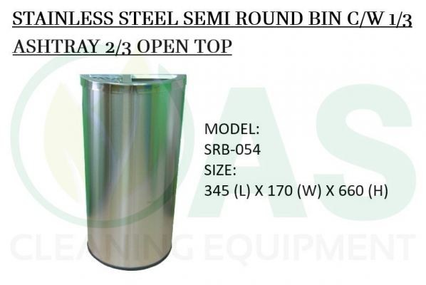 STAINLESS STEEL SEMI ROUND BIN C/W 1/3 ASHTRAY 2/3 OPEN TOP