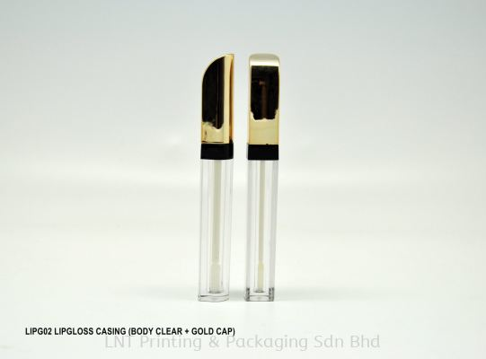 LIPG02 LIPGLOSS CASING (BODY CLEAR + GOLD CAP)